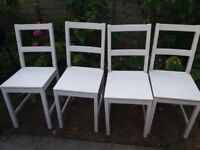 4 IKEA wooden white chairs