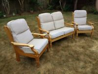 3 PIECE PINE COTTAGE SUITE - ONE 2-SEATER SETTEE AND TWO ARMCHAIRS.