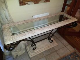 Console Table Wrought Iron Glass and Stone effect Resin frame- Collection Only