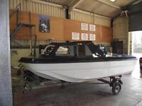 CRJ 14ft Fishing boat with Trailer 25hp Evinrude outboard & 5hp aux outboard