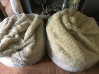2 large furry bean bags
