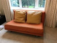Orange King Sized Futon with Two Cushions