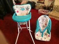 Silver Cross dolls highchair and bouncer