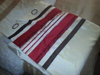 NEW 2 x pairs 90x90 faux silk fully lined cream red/chocolate strip top as seen in picture curtains