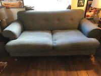 DFS grey denim sofas 190cm and 210cm wide