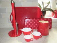 RED KITCHENWARE ITEMS SOLD AS A SET
