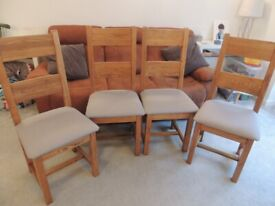 4 x Solid Oak Heavy Dining Chairs with freshly reupholstered grey bases - free local delivery