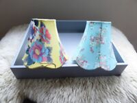 Two cotton floral print lampshades