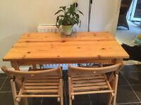 Pine dining table with 2 chairs