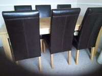 Dining room set, natural oak with matching sideboard and mirror.