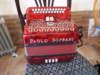 a 2 row paolo soprani accordion in good condition
