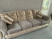 Set Of Two Gold And Grey Fabric Living Room Sofas With Cushions - Great Condition