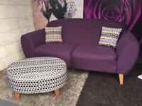 New Lydia 3 Seater Fabric Sofa In Plum With 2 Side Scatter Cushions And Footstool