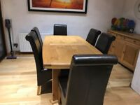 Light oak real wood dinning room extendable table, chairs and sideboard