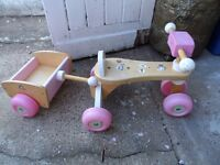 Wooden trike and matching trailer, toddler toy.