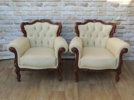 2 Armchairs Italian Cream Leather with crafted frame (Delivery)