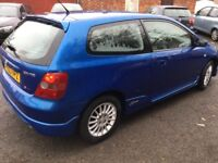 2003 Honda Civic Sport 1.6cc petrol,11 months mot,excellent runner,ac,alloys,half leather,clean,vgc