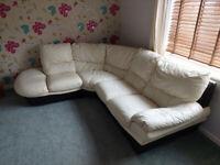 Corner Sofa - Leather Cream