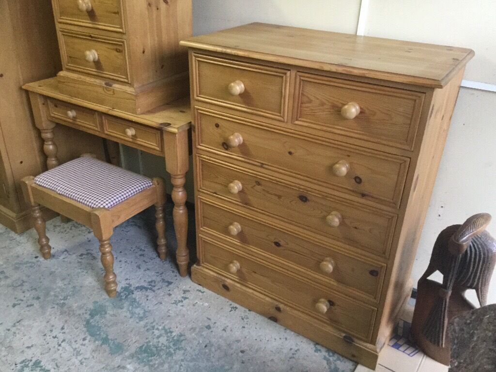Pine Bedroom Stool Pine Bedroom Suit Wardrobe Plus Dressing Table And Stool Plus Side