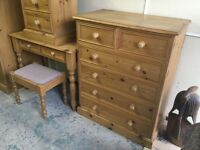 Pine bedroom suit wardrobe plus dressing table and stool plus side cadinet plus chest of draws