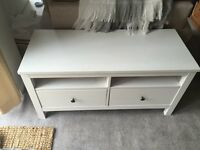 Ikea Hemmes Solid Wood TV unit with 2 drawers - White