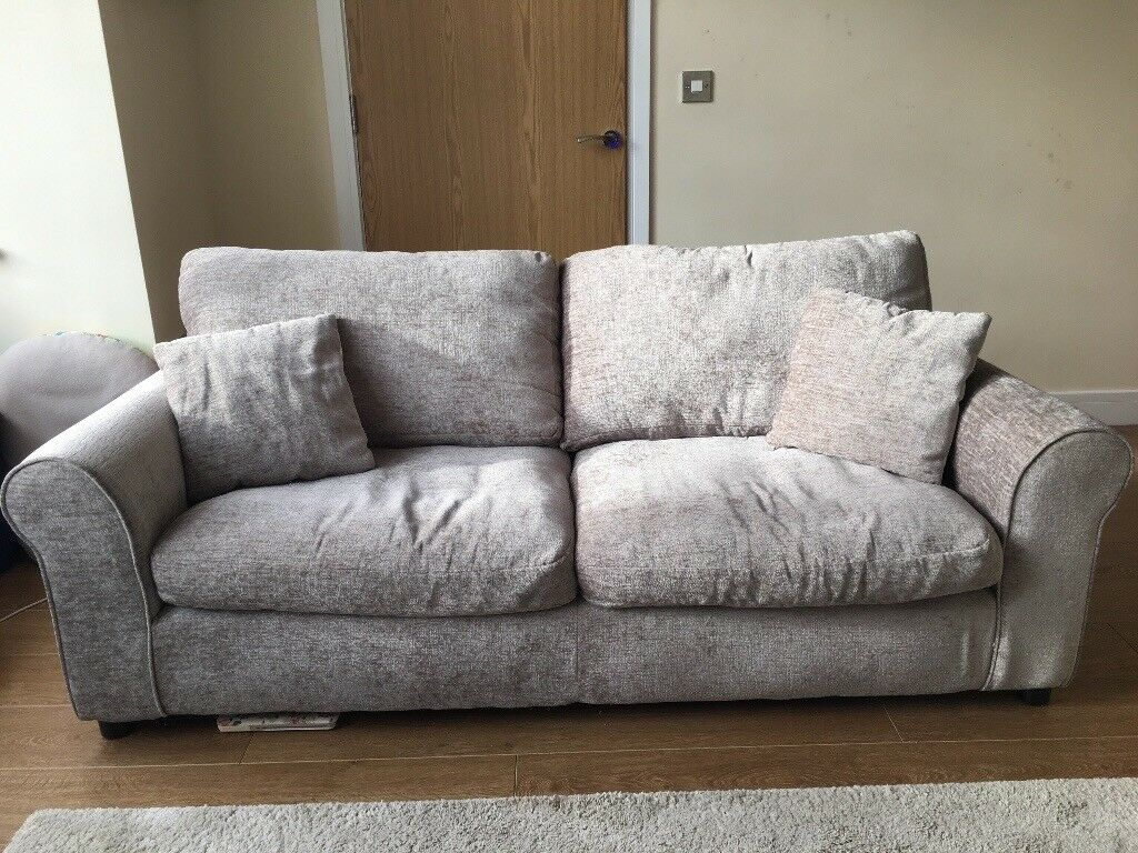 3 seater mink fabric sofa - 6 months old really good condition
