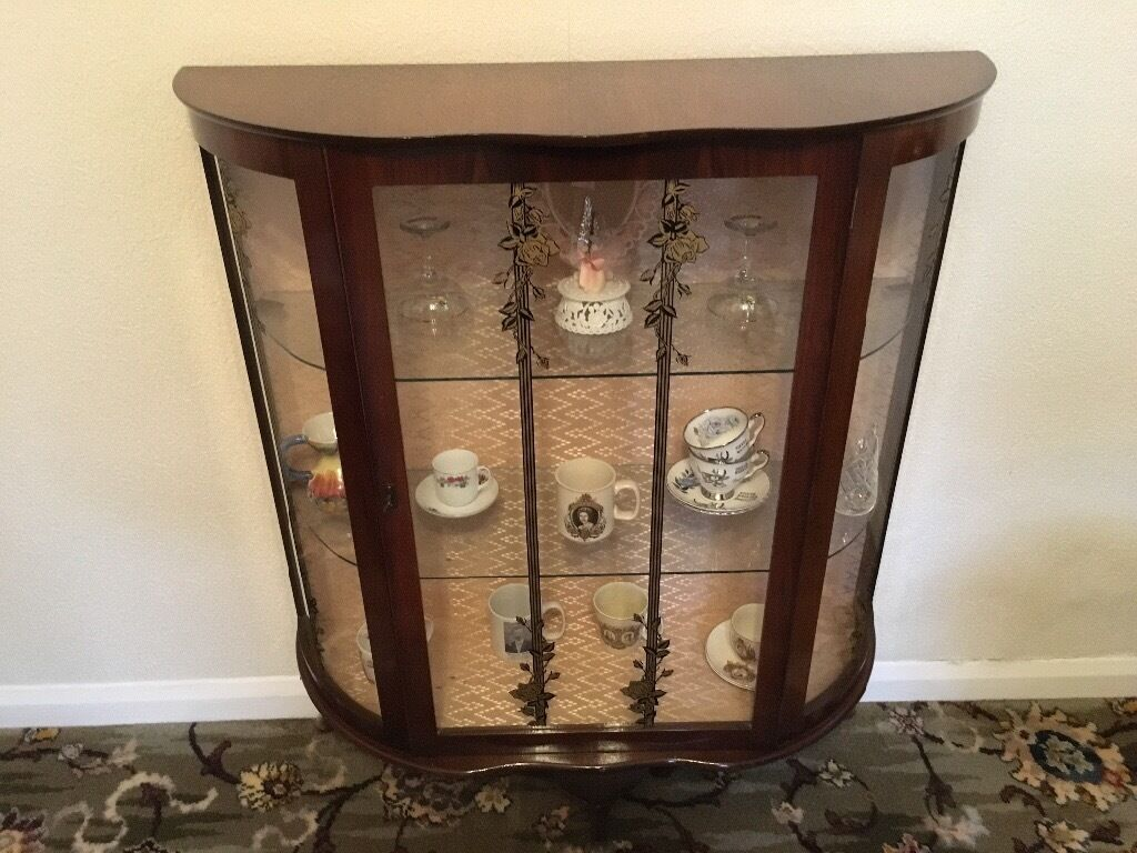 Vintage China Cabinet Display Glass Bow Front Dark Wood Three Legs