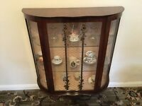 Vintage Antique China Display Cabinet Glass Bow Front Dark Wood Three Legs