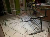 Large Glass Corner Desk