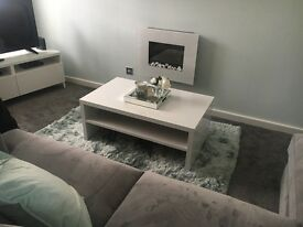 Metric Coffee Table In White High Gloss With Under shelf