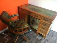 Reproduction Chesterfield Captains Desk & Chair