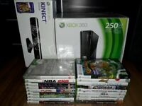 Boxed 250gb Xbox 360 with Kinect and games