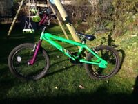 Kids BMX style Rayleigh bike in green and purple