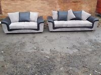 Really nice Brand New black and grey cord 3 & 2 seater sofa suite.small mark at the back.can deliver