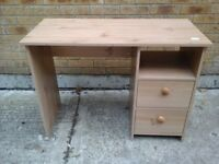 Pine desk with 2 drawers