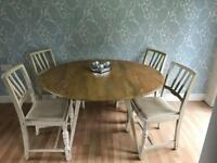 Vintage oak drop leaf dining table and 4 chairs