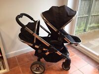 iCandy Peach Blossom 2 Double Buggy in Black Magic with Upgraded Peach 3 seat