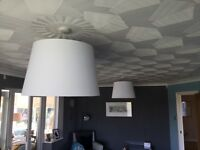 2 very Large modern White Lampshades with bc Oversize LED filiment bulbs