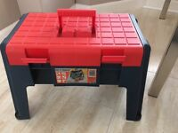 Sit and stand tool storage box