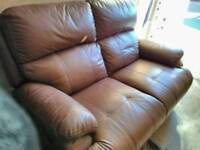 Leather two seater recliner sofa