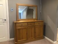 Stunning light oak 3 door sideboard and matching light oak mirror from Hampton and McMurray, Glasgow
