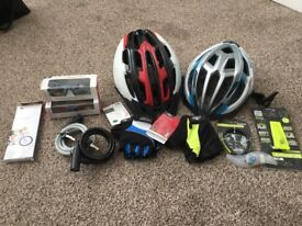 Bike accessories including helmets sunglasses locks etc
