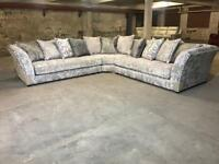 BRAND NEW FROM FABB SOFAS RENDEZVOUS LARGE CORNER SOFA 3c3 SILVER GREY FABRIC CRUSHED VELVET