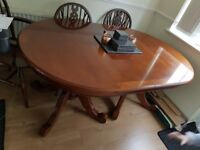 antique table and 4 oak chairs