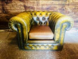 Victorian Chesterfield Club Armchair Antique Gold