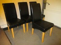 SET OF FOUR 4 HIGH BACK BLACK FAUX LEATHER UPHOLSTERED DINING CHAIRS FREE DELIVERY