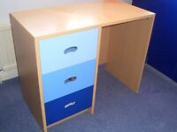 NEXT blue light oak coloured desk with 3 blue drawers-great condition