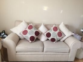 2 X 3 SEATER FABRIC SOFAS (ONE IS A DOUBLE SOFA BED)