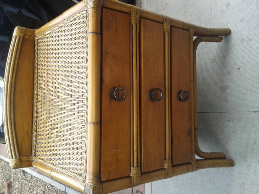 Bamboo style bedside/living room chest of drawers