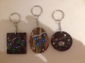 NEW - N.3 Hand Painted Key Rings for £1.00 only